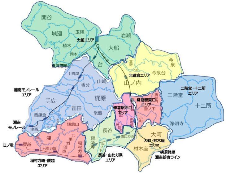 鎌倉PRESSによる鎌倉市の9つのエリア区分